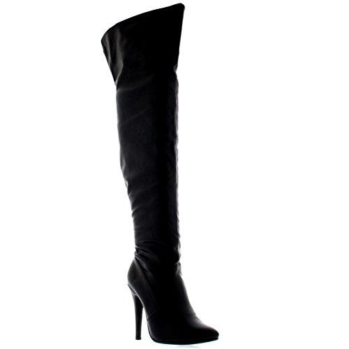 Womens Platform Stretch High Heels Stiletto Over The Knee Thigh Boots - Black - US9/EU40 - (High Heel Black Platform)