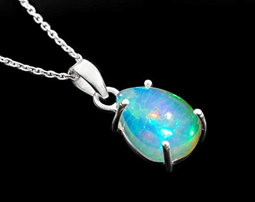 (925 Sterling Silver Ethiopian Opal Gemstone Cabochon Handmade Pendant Necklace Women Jewelry October Lucky Birthstone )