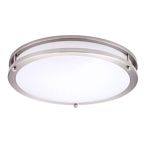 OSTWIN 16 LED Flush Mount Ceiling Light, Brushed Nickel Finish with Acrylic Shade,Warm White Dimmable, 24 Watt (125W Repl.) 3000K Warm Light, 1700 Lm, UL and Energy Star Listed