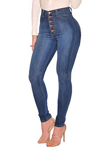 Rétro Jeans Pants Skinny Bleu Femmes Jeggings Tomwell Stretch Taille Slim  Crayon Fit Denim Haute Pantalons Collants Pantalon qw6Av f1b1b780a63