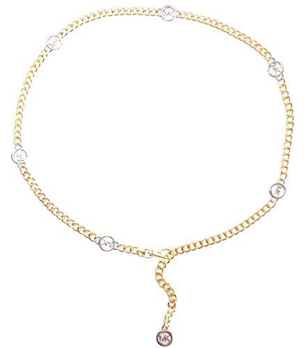 Logo Silver Chain - Michael Kors Hamilton Mk Logo Two Tone Silver/Gold Chain Belt (L/XL)