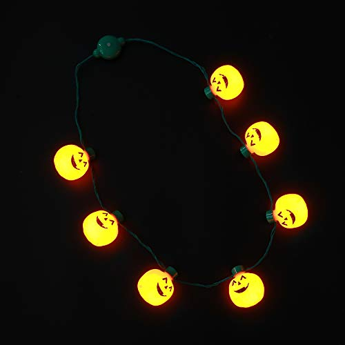Hautton Light-Up Pumpkin Necklace, 7 LEDs Battery-Operated 6 Flashing Modes Jack-O-Lantern Necklace Flashing String Lights for Halloween Holiday Festival Party (O Up Light Lanterns Jack)