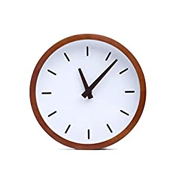 Driini Modern Wood Analog Wall Clock (12) - Battery Operated with Silent Sweep Movement - Small Decorative Wooden Clocks for Bedrooms, Bathroom, Kitchen, Living Room, Office or Classroom