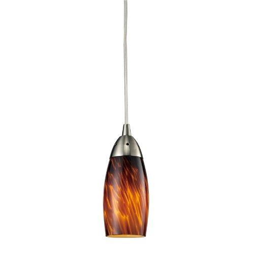 Elk 110-1ES 1-Light Pendant In Satin Nickel with Espresso Glass (Art Glass Elks)