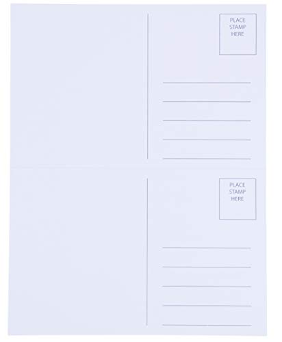 Blank Postcards - 100-Sheet 200-Cards Printable Postcards, 2-Up Perforated Laser and Inkjet Printer Postcards, Self Mailer Mailing Side Postcards, White, 8.5 x 5.5 Inches Per ()