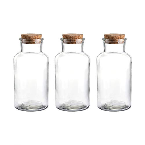 Whole Housewares 18 Ounce Glass Favor Jar, Glass Storage Jars with Corks for Wedding and Party, Set of 3