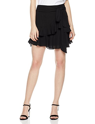 Plumberry Women's High Waisted Ruffle Pleated Asymmetrical Hem Chiffon Mini Short Skirt With Knot Belt X-Small Solid Black