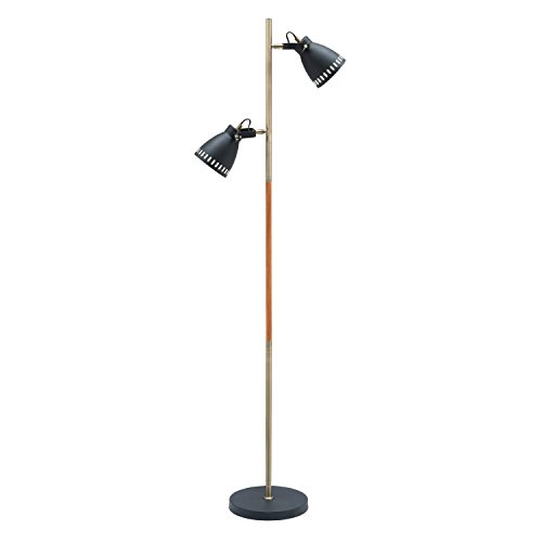 Blk Black Floor Fixtures - Light Society Tasman Floor Lamp, Sand Textured Black with Antique Brass and Wood Finished Body, Mid Century Modern Industrial Style (LS-F203-BLK)