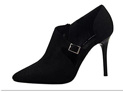 Ryse Women's Fashionable Buckle Classic Elegant Zipper Temperament High Heels Pointy Shoes(36 M EU/6 B(M) US, Black)