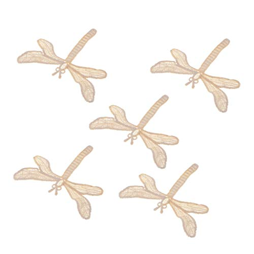 5pcs Cotton Embroidered Lace Applique Patch Sew on Patch DIY Sewing Supplies | Color - Dragonfly -