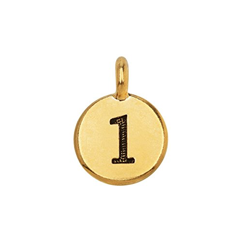 (TierraCast Pewter Number Charm, Round '1' 16.5x11.5mm, 1 Piece, Gold Plated)