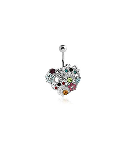 Bubble Body Jewelry Crystaline Color Silver Color Jeweled Heart With Flowers Butterflies Navel Banana 1.6mm Gauge 14g 1/16