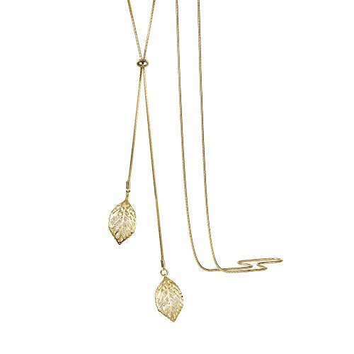 T400 White Golden Double Leaves Long Sweater Chain Pendant Necklace with Cubic Zirconia for Women Girls