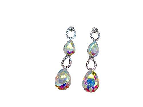 TTjewelry Silver Tone Bride Clear AB Austria Crystal Teardrop Art Style Dangler Earrings