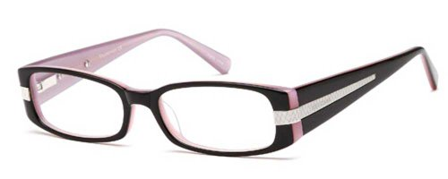 Womens Kisses XOXO Thin Framed Prescription Eye Glasses Frames in Pink and Black
