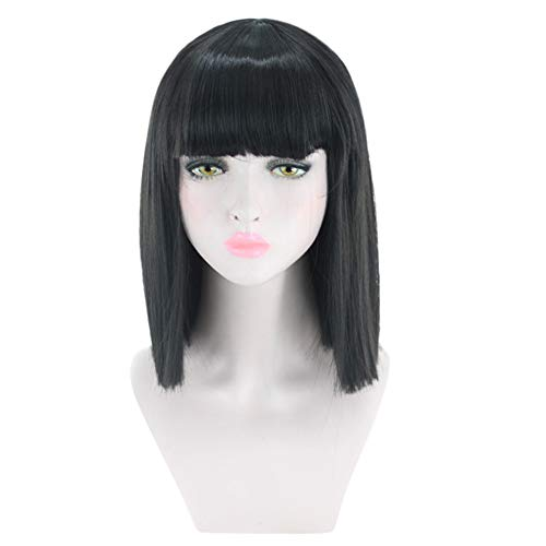 Clearence Wigs Short Straight Heat Resistant Synthetic Hair Gray Nature Black Womens ()