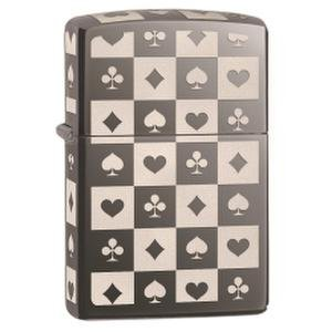 - Zippo Card Suit Tiles Pocket Lighter, Black Ice