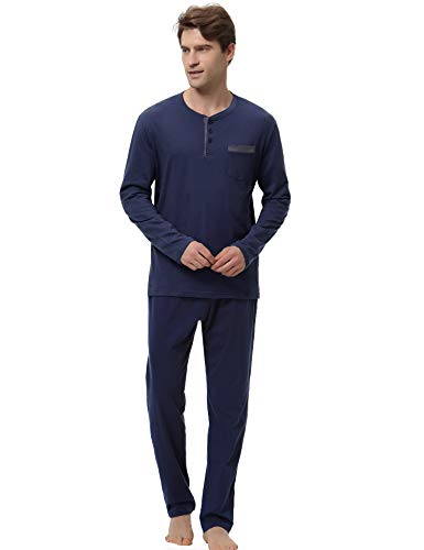 Hawiton Men's Pajama Pants Set 100% Cotton Long Sleeve Sleepwear Lounge (Y-Dark Blue, - Lounge Set Brown