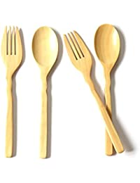 Buy 2 pair of Spoons and Forks, Kid Spoon, Wooden Spoon, Wood Flatware wholesale