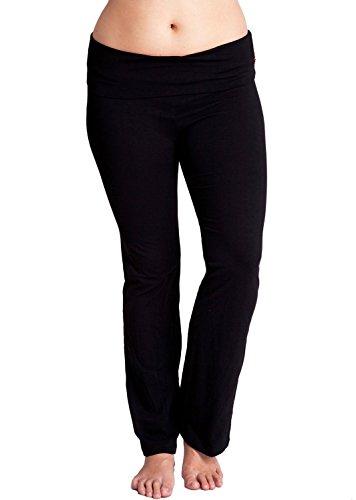 black-ladies-plus-size-fold-over-waist-flared-legs-yoga-pants
