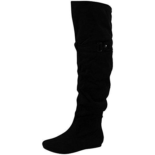 Loudlook Nouvelles Femmes Dames Mi-mollet Hiver Genou Plat Pixie Bas Talon Haut Bottes Chaussures Taille 3-8 Uk Noir