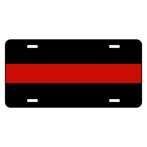 Fire Red Line Reflective License Plate Redline Playe Stripe Personalized Ax Volunteers Automotive Ted Firefighter Cars Dept Licence Thin Reflctive For Company Plates Fireman Cover Department Tags ()