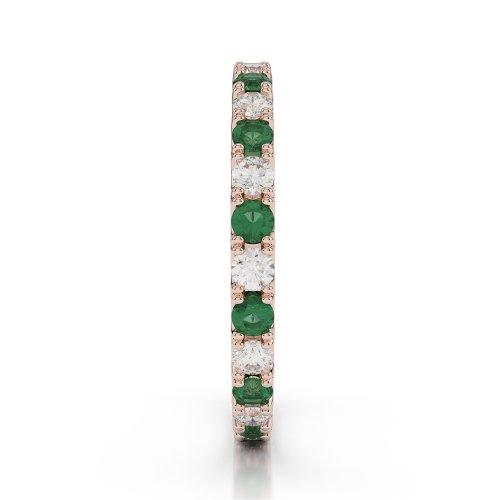 Or Rose 18carats 0,84CT G-H/VS sertie de diamants ronds découpé Émeraude et bague éternité Agdr-1120