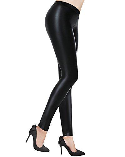 OUGES Women's Sexy Stretchy Faux Leather Long Leggings Pants(Black,L)