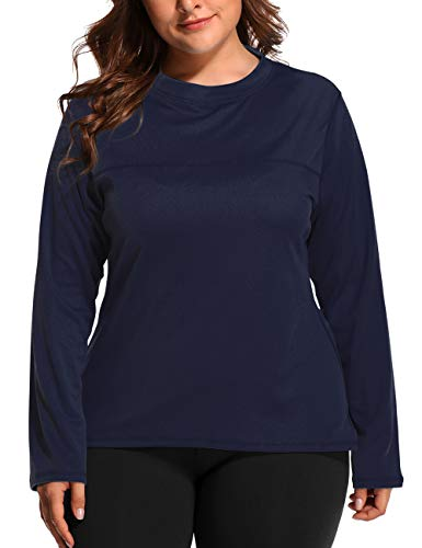 (V FOR CITY Womens Plus Size UV Sun Protection Active Long Sleeve Rash Guard Swim Tee Shirt 3X Navy)