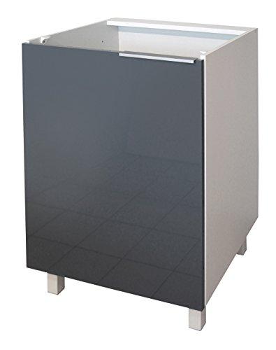 Berlenus CP6BG Küchenunterschrank, 1 Tür, 60cm, Hochglanz Grau