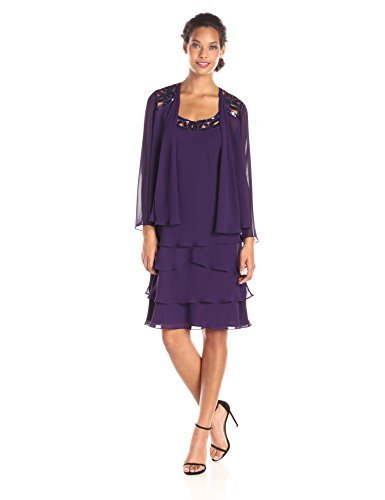 Tiered Dress Cover - S.L. Fashions Women's Embellished Tiered Jacket Dress (Petite and Regular), Eggplant, 8