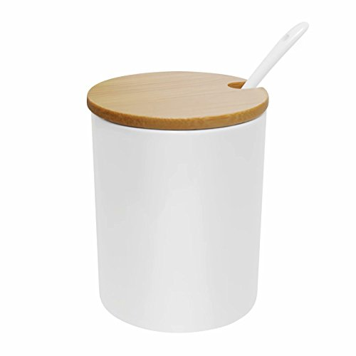 77L Sugar Bowl, Ceramic Sugar Bowl with Sugar Spoon and Bamboo Lid for Home and Kitchen, Elegant Design, White, 10.8 FL OZ (320 (Ceramic Sugar Dish)