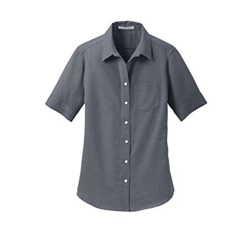 - Port Authority womens Short Sleeve SuperPro Oxford Shirt, Black, Large