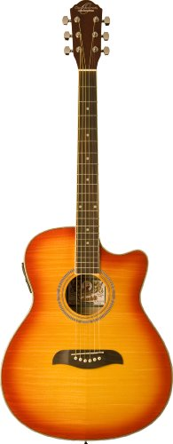 Oscar Schmidt OACEFCS-A-U Auditorium Style Acoustic-Electric Guitar – Flame Natural