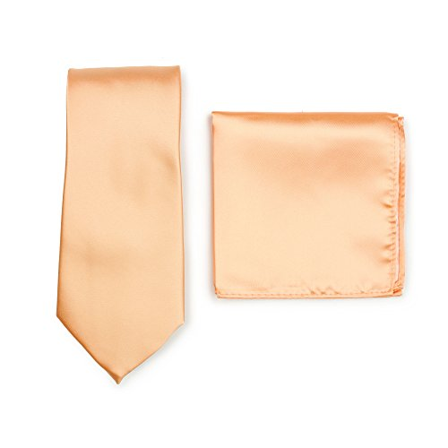 (Bows-N-Ties Men's Solid Necktie and Pocket Square Set (Peach Apricot))