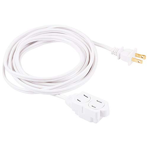 - GE 15 ft Extension Cord, 3 Outlet Power Strip, 2 Prong, 16 Gauge, Twist-to-Close Safety Outlet Covers, Indoor Rated, Perfect for Home, Office or Kitchen, UL Listed, White, 51962