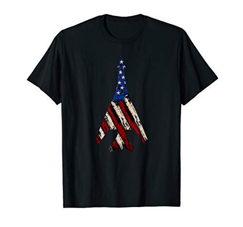 (B-1 Lancer Supersonic Bomber | Distressed US Flag T-Shirt)