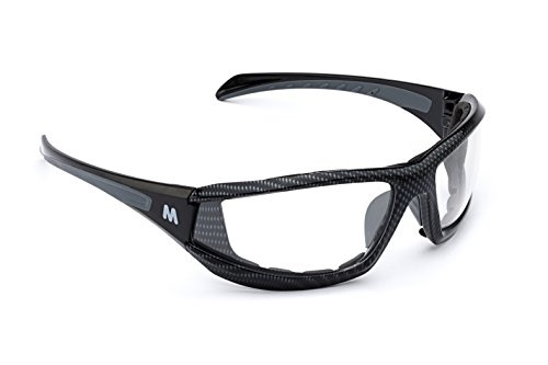 MORR MARRCONI Z75 Sport Sunglasses with Fog ARMORR Anti-Fog Lenses and Foam Padded Frame for Mountain Biking, Cycling, Motorcycle Riding (Clear Lens / Black Carbon Fiber - Sunglasses Clear Cycling