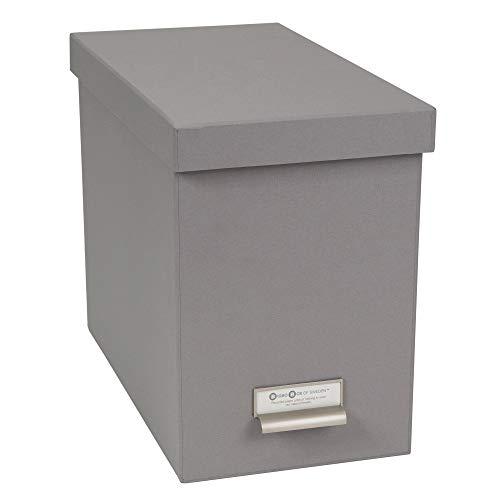 (Bigso John Desktop File Thin Label Frame Storage Box, Grey)