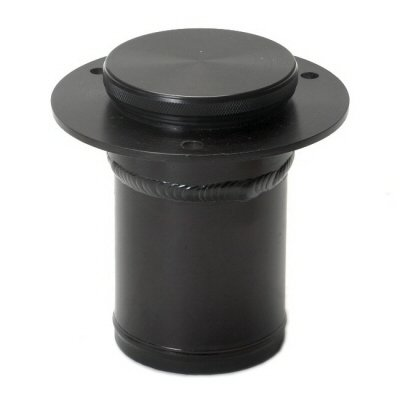 Remote Low Profile Fuel Filler Neck Black Anodized With Machine Finish Cap For 2.25 Inch Hose