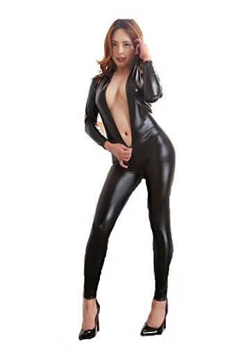[Sexy Latex Catsuit Black PU Leather Bodysuit Costume Front Zipper Wet Look Jumpsuit Playsuit for Women Clubwear] (Latex Catwoman Costumes)