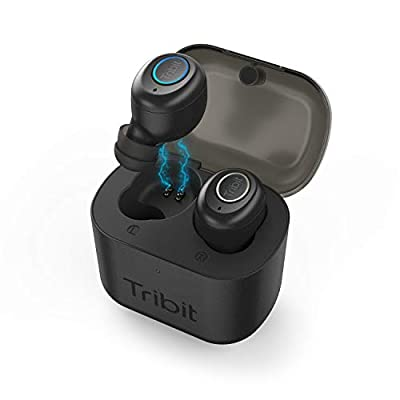 Tribit X1 True Wireless Earbuds - Bluetooth 5.0 3D Stereo Deep Bass 18Hrs Playtime Bluetooth Earbuds for Sports Running, in-Ear Bluetooth Headphones with Built-in Mic Charging Case, Jet Black