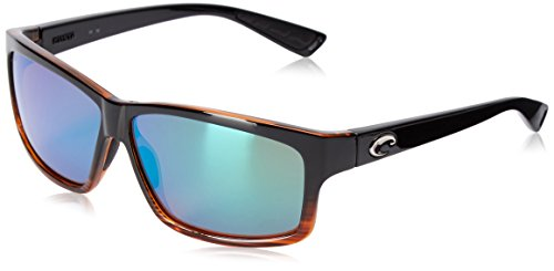 Costa del Mar Cut Polarized Rectangular Sunglasses, Coconut Fade/Green Mirror 580 - Cut Costa