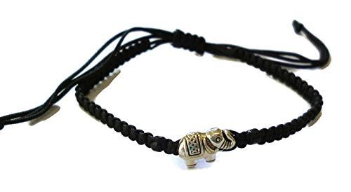 Moose546 Elephant Pendant Lucky Braided Bracelets with a Sliding Knot Adjustable Cotton Cord Bracelet -