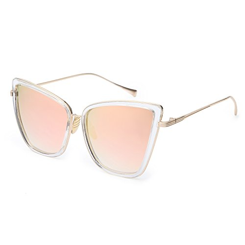 Joopin Fashion Cat Eye Sunglasses Women Retro Transparent Frame Brand Sun Glasses(Pink)