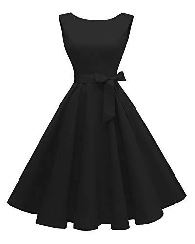 Hanpceirs Women's Boatneck Sleeveless Swing Vintage 1950s Cocktail Dress Black 3X (Black Dress 50s)