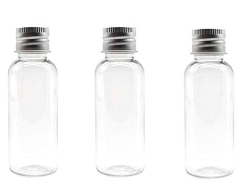 12PCS 1oz / 30Ml Empty Clear PET Plastic Tube Bottle Containers With Silver Aluminum Screw Cap For Makeup Lotion Essential Oils Creams Powders Moisture Smaples ()