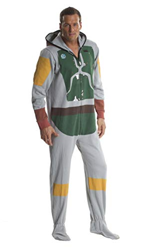 Star Wars Boba Fett Adult Onesie Footed Costume Pajamas for Men and Women (Small) -