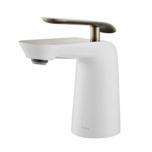 Kraus FUS-1821BN-WH Seda Single Lever Basin Bathroom Faucet, Brushed (Basin White Single Hole)