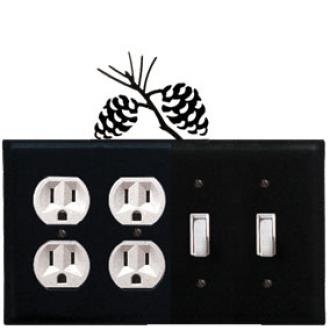 (EOOSS-89 Pinecone Double Outlet Double Switch Electric Cover)